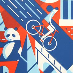 Hello Mr. Panda. #illustration #print #panda #bicycle