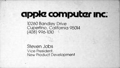 Single Measures » Steve Jobs Business Card circa 1979 #card #business