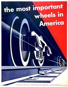 agi open london:Joseph Binder — Association of American Railroads (1952) #train #illustration #vintage #poster
