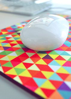Mousepad by Eamon Donnelly. $30 http://cmnt.ca/WyUrbi #accesories #mouse #design #graphic #shape #colors #triangles #pad #australia