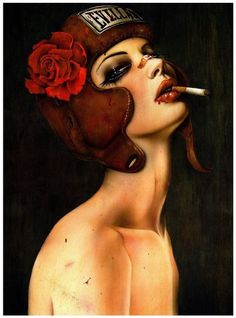 this isn't happiness™ - photo caption contains external link #woman #rose #illustration #portrait #painting #smoking #evil