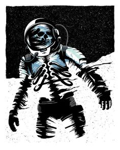 Image of Light and Shadow - Print by Ryan Lynn #skeleton #astronaut #print #design #fi #sci #space #screen #illustration #light #death #shadow