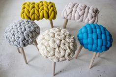 Unique knitted stools collection «