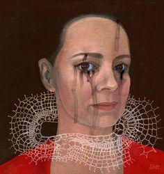 Portraits on Behance #portrait #lace #painting