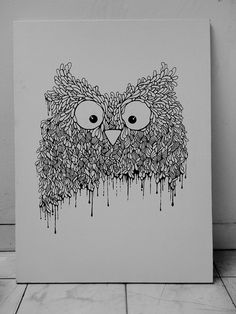 IMG_3294 #white #owl #& #black #birds #illustration