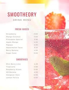 Strawberry Juice Photo Drink Menu