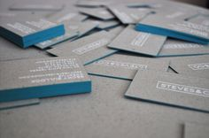 Steves&Co. Business Cards #malta #silkscreen #business #stevesandco #blue #recycled #cards