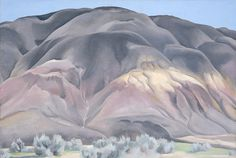 "vjeranski: ""Georgia O'Keeffe (American, 1887 – 1986); Grey Hill Forms, 1936; Oil on canvas; 21 3/8 x 31 3/8 inches; University of New"