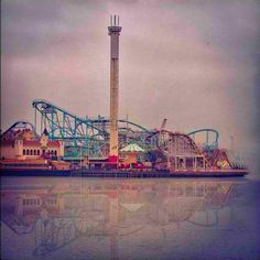 Amusement park #clouds #rollercoaster #lines #fog #water #photo #amusement #park #skyline