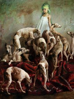 Guillermo Lorca Garcia-Huidobro's Moody Paintings Tap Into Childhood Nightmares | Hi-Fructose Magazine #girl #chiaroscuro #greyhound #painting #velvet #dog