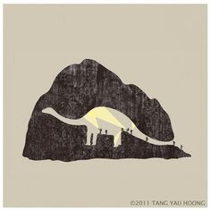 The Art of Negative Space. on the Behance Network #yau #illustration #explorers #tang #dinosaur #hoong