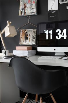 THE FRESH COLLECTIVE #lamp #black #wood #desk #imac #eames