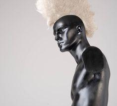 Hair Art, Human Hair, grey hair, hair felt, material experiments, Mohawk