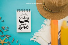 Summer decoration with notepad on blue background Free Psd. See more inspiration related to Background, Mockup, Summer, Template, Paper, Blue, Beach, Sea, Sun, Holiday, Mock up, Decoration, Hat, Pineapple, Decorative, Vacation, Templates, Cream, Summer beach, Notepad, Sunshine, Aloha, Up, Towel, Season, Composition, Mock, Summertime and Seasonal on Freepik.