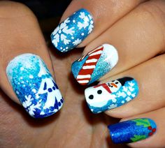 Christmas nail art starring the snowman, a candy cane and mistletoe. A perfect nail art to go with this festive season and very adorable to