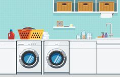 Laundry Room – Nathan Manire #flat #interior #soundfreaq #modern #basket #design #color #icons #geometric #home #simple #theme #illustration #laundry #decor #series #glass #reflection #room #decoration