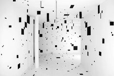 Esther Stocker #gallery #white #installation #black #hall #and #squares