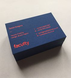 Faculty Creative business card #business card #design #stationery #blue #letterpress #foil #gfsmith #colourplan