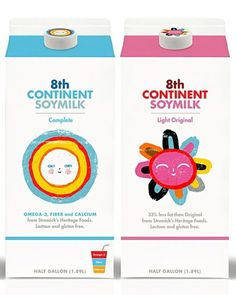 8th Continent Soymilk : Lovely Package . Curating the very best packaging design. #8th #packaging #soymilk #colorful #brush #milk #continent #carton