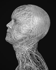 Art by velazquezchile #thread #profile #white #connected #string #design #head #anatomy #black #woven #portrait #network #art #and #face