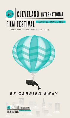 2012 Cleveland Film Festival Poster #film festival animal whale minimal balloon