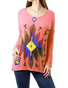Colorful Geometric Design Tunic Style Fashion Sweatshirt Top for Women