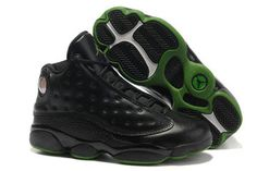 Retro 13 Female Sneaker - Black/Green - Leather Jordans #shoes
