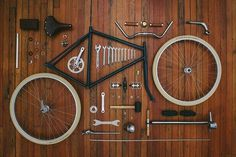 THE BROWN WORKSHOP #wheels #frame #bicycle #workshop #wood #stools #bike #parts