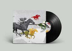Off Record on Behance #album #horse #plants #montage #noa #record #vinyl #illustration #stain #music #joy #collage #emberson #race