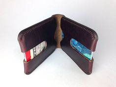 Flip Cardholder/Wallet Burgundy Horween Chromexcel by Eighteen32 #wallet #cardholder #craft #leather #horween #chromexcel