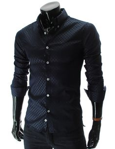 Navy Slim Fit Pattern Dress Shirt #fashion #mens fashion #shirt