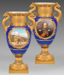 Royal luxury vase with the Portrait of Wilhelm I of Prussia and the view of the Palace of Wilhelm I. in Berlin #Sets #Teasets #Porcelainsets #Antiqueplates #Plates #Wallplates #Figures #Porcelainfigurines #porcelain