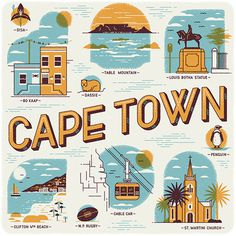Cape Town illustrations Wish You Were Here Calendar #cape #africa #calendar #town #illustrations #south