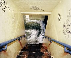 8d6260fee420eb69 steps.jpg #ocean #red #water #surf #seafoam #graffiti #yellow #foam #rust #stairs #blue #dirt