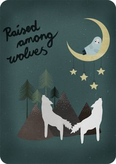 Michelle Carlslund Illustration: Raised Among Wolves #illustration #poster #music #man #copenhagen #moon #woods #danish #cd cover #handlette