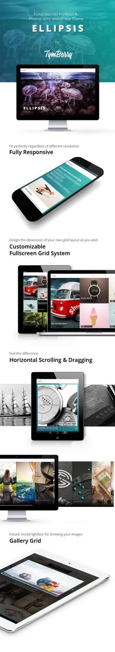 WordPress - Ellipsis - Fullscreen HD Portfolio WordPress Theme | ThemeForest #creative #slideshow #background #gallery #horizontal #photo #portfolio #grid #video #photography #resolution #slider #high #fullscreen