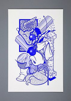 Blue #illustration #poster #abstract #geometric #pattern #monotone