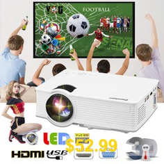 Excelvan #EHD09 #mini #LED #projector #800x480 #pixels #1200 #lumens #Home #Cinema #theater #HDMI #White