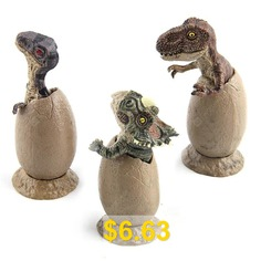 Dinosaur #Handmade #Model #Half #Hatched #Dinosaur #Egg #Model #with #Pedestal #3PCS #- #GRAY