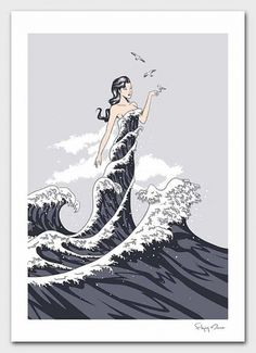 Wave Dress von flyingmouse365 auf Etsy #water #girl #wave #bird #painting