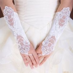 White-Flowers-Bridal-Gloves-Fingerless-Satin-Lace-Pearl-Wedding-Party-Prom-G1-0