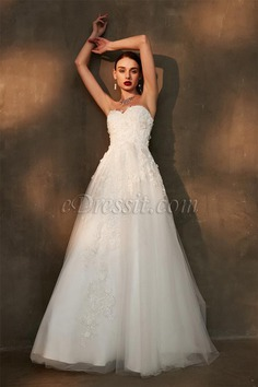 eDressit Strapless Beaded Lace Embroidery Wedding Gown (01200507)