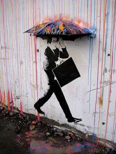Imaginary Foundation #umbrella #stencil #paint #rain #wall #art #street