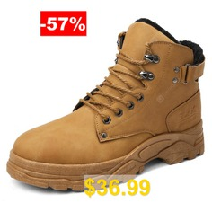 Winter #Men's #PU #Leather #Snow #Boots #Water-resistant #Cotton #Shoes #- #YELLOW