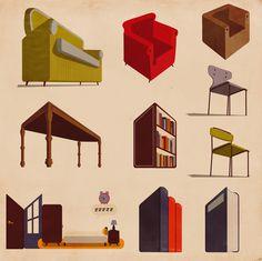 furniture #infographics #illustration #vintage