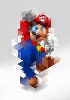 Super Mario | felasquez #design #pixel #illustration #poster #cube