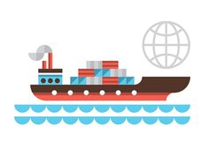 Ty Wilkins - UPS #ocean #icon #illustration #sea #cargo #boat #ship