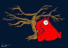 Illustration d'un lapin obése rouge assis contre un arbre #rabbit #red #tree