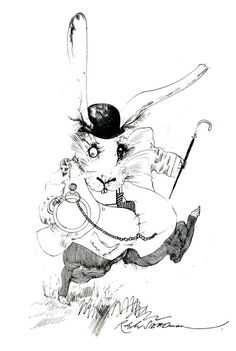 The White Rabbit by Ralph Steadman #in #alice #ralph #illustration #wonderland #steadman #rabbit