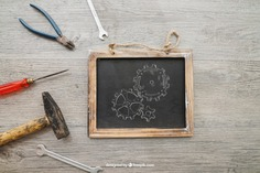 Chalkboard and tools on wooden texture Free Psd. See more inspiration related to Mockup, Texture, Blackboard, Chalkboard, Mock up, Tools, Wooden, Hammer, Wrench, Up, Male, Screwdriver, Objects, Things, Composition, Mock, Pliers and Masculine on Freepik.